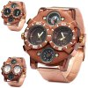 cheap Shiweibao 1109 Bronzed Case Double Movt Quartz Watch Compass Function Male Wristwatch