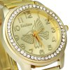 Kanima Butterfly Face Ladies Golden Color Quartz Watch with Luxury Diamond Bezel deal