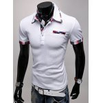 cheap Fashion Turndown Collar Slimming Color Block Checked Splicing Short Sleeve Polyester Polo T-Shirt For Men