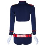 Sexy Turn-Down Collar Long Sleeve Blouse + Low-Waisted Shorts Women's Cosplay Costume photo