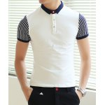 Buy White Classic Stripes Splicing Color Block Turn-down Collar Slimming Short Sleeves Men's Polo T-Shirt-15.94 Online Shopping GearBest.com