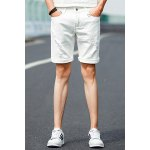 Buy White Slimming Zipper Fly Embroidery Embellished Destroy Wash Crimping Straight Leg Men's Shorts-26.36 Online Shopping GearBest.com