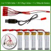 1 to 5 JST Plug Cable + 5 x 3.7V 500mAh 25C Battery + USB Cable for U818A / V959 / V222 RC Copter