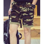 Buy Camouflage Style Slimming Zipper Fly Crimping Straight Leg Men's Shorts 2XL