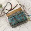 cheap National Style Weaving and Floral Print Design Women's Crossbody Bag