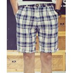 Buy Refreshing Slimming Zipper Fly Plaid Print Crimping Straight Leg Men's Cotton+Linen Shorts XL BLUE AND WHITE