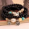 cheap Layered Vintage Beads Coin Cat Pendant Bracelet