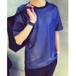 Buy Modern Style Loose Fit Round Neck Short Sleeves Solid Color Men's PU Leather T-Shirt XL SAPPHIRE BLUE
