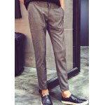 Buy Casual Slimming Zipper Fly Button Pocket Embellished Narrow Feet Men's Nine Minutes Pants S GRAY