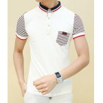 Buy White Trendy Fitted Turn-down Collar Short Sleeves Stripes Splicing Pocket Design Men's Polo T-Shirt-15.40 Online Shopping GearBest.com