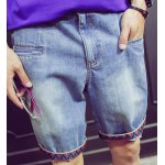 Buy Trendy Fitted Zipper Fly Bleach Wash Ethnic Print Crimping Straight Leg Men's Denim Harem Shorts M LIGHT BLUE