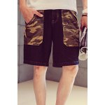 Buy Stylish Slimming Zipper Fly Camo Splicing Bleach Wash Straight Leg Men's Denim Shorts XL COLORMIX