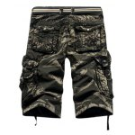 cheap Military Style Stylish Camo Design Multi-Pocket Straight Leg Cotton Blend Shorts For Men