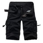 Military Style Stylish Multi-Pocket Solid Color Straight Leg Cotton Blend Shorts For Men