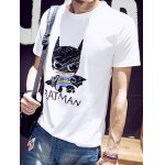 Buy Fashion Round Neck Slimming Cartoon Batman Print Short Sleeve Cotton Blend T-Shirt Men 2XL WHITE