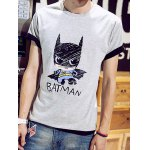 Buy Fashion Round Neck Slimming Cartoon Batman Print Short Sleeve Cotton Blend T-Shirt Men M