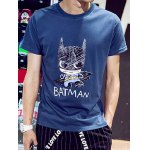 Buy Fashion Round Neck Slimming Cartoon Batman Print Short Sleeve Cotton Blend T-Shirt Men L