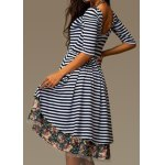 cheap Stylish Round Collar 3/4 Sleeve Striped Floral Print Asymmetrical Women's Dress
