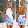 Sexy Spaghetti Strap Backless Floral Print Women's Dress photo
