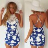 Chic Round Collar Sleeveless Floral Print Backless Women's Dress photo
