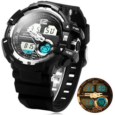 ФОТО Quamer 1312 Dual Movt LED Military Watch Water Resistance for Outdoor Sports