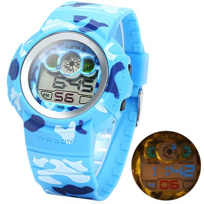 ФОТО LED Camouflage Military Watch Water Resistance with Date Day Alarm Rubber Band