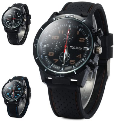 ФОТО Womage A921 Meshes Design Rubber Strap Unisex Quartz Watch with Decorative Sub - dials