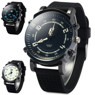 ФОТО QF 1404 Meshes Design Rubber Strap Unisex Quartz Watch with Big Pointers