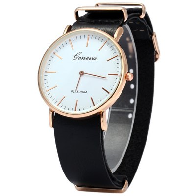 Geneva Soft Leather Band Men Quartz Watch with Stripe Markers