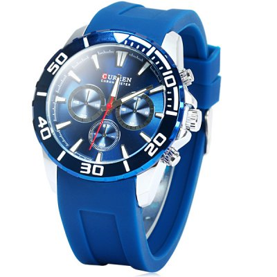 Curren 8185 Male Quartz Watch with Decorative Sub-dials Rubber Band