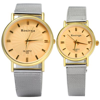 Rosivga 185 Couple Quartz Watch with Steel Net Strap Round DialCouples Watches<br>Rosivga 185 Couple Quartz Watch with Steel Net Strap Round Dial<br><br>Brand: Rosivga<br>Watches categories: Couple tables<br>Watch style: Fashion<br>Available Color: White, Gold, Black<br>Shape of the dial: Round<br>Movement type: Quartz watch<br>Display type: Analog<br>Case material: Stainless steel<br>Band material: Steel<br>Clasp type: Pin buckle<br>Special features: Date<br>Package weight: 0.122 kg<br>Package size (L x W x H): 24.5 x 4.7 x 1.9 cm / 9.63 x 1.85 x 0.75 inches<br>The male dial dimension (L x W x H): 3.7 x 3.7 x 1.0 cm / 1.46 x 1.46 x 0.39 inches<br>The male watch band dimension (L x W): 24.5 x 1.8 cm / 5.51 x 0.71 inches<br>The male watch weight: 0.046 kg<br>The male watch size (L x W x H): 24.5 x 3.7 x 1.0 cm / 9.63 x 1.46 x 0.39 inches<br>The female dial dimension (L x W x H): 2.7 x 2.7 x 1.0 cm / 1.06 x 1.06 x 0.39 inches<br>The female watch band dimension (L x W): 22 x 1.2 cm / 8.66 x 0.47 inches<br>The female watch weight: 0.026 kg<br>The female size (L x W x H): 22 x 2.7 x 1.0 cm / 8.66 x 1.06 x 0.39 inches<br>Package contents: 2 x Rosivga 185 Watch