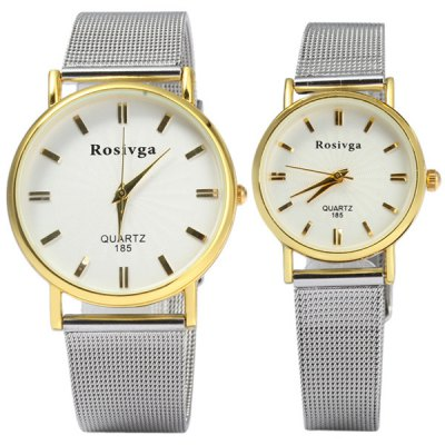 Rosivga 185 Couple Quartz Watch with Steel Net Strap Round DialCouples Watches<br>Rosivga 185 Couple Quartz Watch with Steel Net Strap Round Dial<br><br>Brand: Rosivga<br>Watches categories: Couple tables<br>Watch style: Fashion<br>Available Color: Black, White, Gold<br>Shape of the dial: Round<br>Movement type: Quartz watch<br>Display type: Analog<br>Case material: Stainless steel<br>Band material: Steel<br>Clasp type: Pin buckle<br>Special features: Date<br>Package weight: 0.122 kg<br>Package size (L x W x H): 24.5 x 4.7 x 1.9 cm / 9.63 x 1.85 x 0.75 inches<br>The male dial dimension (L x W x H): 3.7 x 3.7 x 1.0 cm / 1.46 x 1.46 x 0.39 inches<br>The male watch band dimension (L x W): 24.5 x 1.8 cm / 5.51 x 0.71 inches<br>The male watch weight: 0.046 kg<br>The male watch size (L x W x H): 24.5 x 3.7 x 1.0 cm / 9.63 x 1.46 x 0.39 inches<br>The female dial dimension (L x W x H): 2.7 x 2.7 x 1.0 cm / 1.06 x 1.06 x 0.39 inches<br>The female watch band dimension (L x W): 22 x 1.2 cm / 8.66 x 0.47 inches<br>The female watch weight: 0.026 kg<br>The female size (L x W x H): 22 x 2.7 x 1.0 cm / 8.66 x 1.06 x 0.39 inches<br>Package contents: 2 x Rosivga 185 Watch