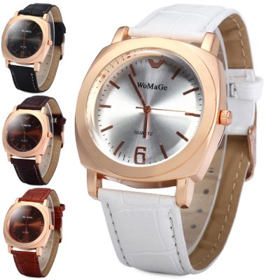 Гаджет   Womage Leather Band Gold Case Quartz Watch for Men Women Unisex Watches