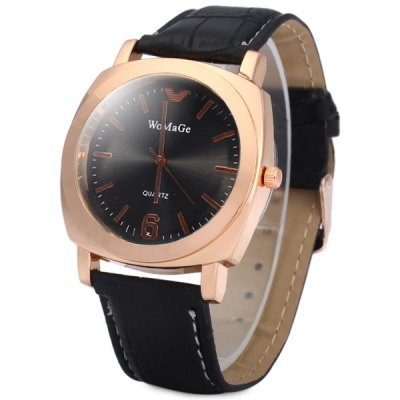Womage Leather Band Analog Quartz Watch for Men Women