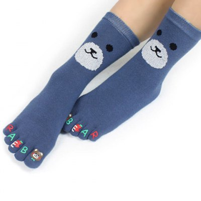 Pair of Chic Cartoon Bear Face Pattern Separate Toe Knitted Socks For Women от GearBest.com INT