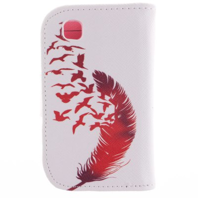 Гаджет   Card Holder PU Leather Phone Cover Case with Red Feather Design for LG L40 Other Cases/Covers