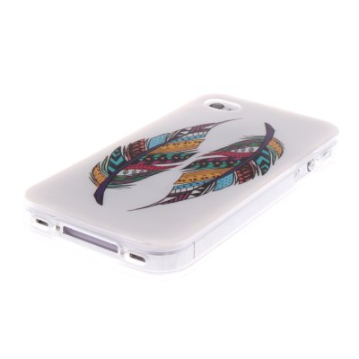 Гаджет   Two Feathers Pattern TPU Phone Back Cover Case for iPhone 4 4S iPhone Cases/Covers