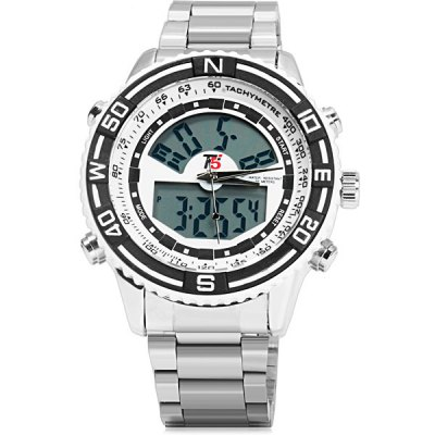 Фотография T5 3279 Stainless Steel Band Japan Dual Movt LED Sports Watch
