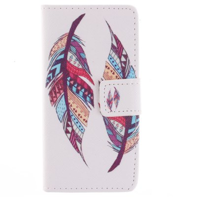 Гаджет   Card Holder PU Leather Phone Cover Case with Two Feathers Design for iPhone 5C iPhone Cases/Covers