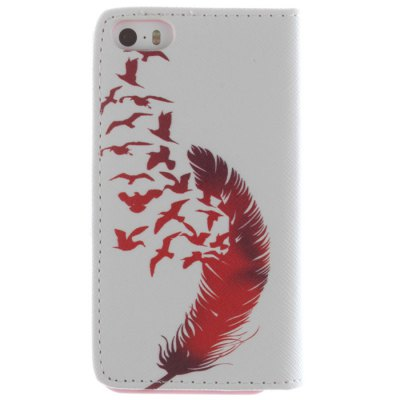 Гаджет   Card Holder PU Leather Phone Cover Case with Red Feather Design for iPhone 5 5S iPhone Cases/Covers