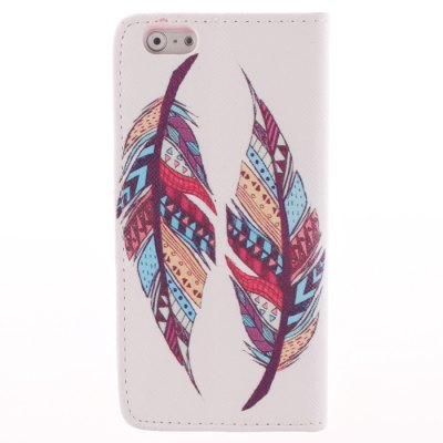 Гаджет   Card Holder PU Leather Phone Cover Case with Two Feathers Design for iPhone 6 Plus - 5.5 inch iPhone Cases/Covers