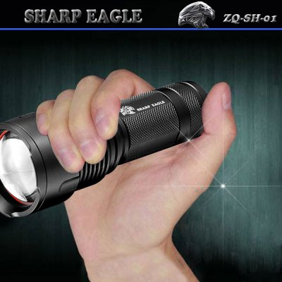 Sharp Eagle ZQ - SH - 01 3 x CREE XPE LED 800LM Multicolor LED Flashlight ( 1 x 18650 / 26650 Battery )LED Flashlights<br>Sharp Eagle ZQ - SH - 01 3 x CREE XPE LED 800LM Multicolor LED Flashlight ( 1 x 18650 / 26650 Battery )<br><br>Brand: SHARP EAGLE<br>Model: ZQ-SH-01<br>Emitter Type: Cree XP-E<br>Total Emitter: 3<br>Lumens: 800Lm<br>Switch Type: Press-type<br>Switch Location: Tail Cap<br>Feature: Overheating Protection, Headstand, Integrated Heat Dissipation Design, Adjustable brightness, Cooling Slot of High Efficiency<br>Function: Law Enforcement, EDC, Night Riding, Military and Tactical, Hunting, Rescue, Exploring, Camping, Search, Household Use, Hiking, Self-defense, Seeking Survival, Walking<br>Battery Type: 26650, 18650<br>Battery Quantity: 1 x 18650 / 26650 (not included)<br>Mode: 6 (White Light: High - Low; Yellow: High - Low; Blue Light: High - Low)<br>Power Source: Battery<br>Reflector: Aluminum Smooth Reflector<br>Lens: Toughened Ultra-clear Glass Lens with Anti-reflective Coating<br>Body Material: Aluminium Alloy<br>Available Light Color: White, Yellow, Blue<br>Available Color: Black<br>Approximately: 2 - 4 hrs<br>Product weight: 0.130 kg<br>Package weight: 0.210 kg<br>Product size (L x W x H): 15 x 5 x 3.5 cm / 5.90 x 1.97 x 1.38 inches<br>Package size (L x W x H): 17 x 7 x 5 cm / 6.68 x 2.75 x 1.97 inches<br>Package Contents: 1 ? Multicolor LED Flashlight