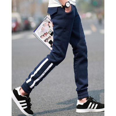 Fashion Lace-Up Pocket Design Color Block Stripe Fitted Beam Feet Men