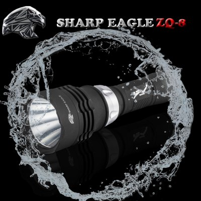 SHARP EAGLE ZQ - 8 Cree XML - T6 5 Modes 1200LM Diving LED Flashlight ( 1 x 18650 Battery White Light ) - SHARP EAGLELED Flashlights<br>SHARP EAGLE ZQ - 8 Cree XML - T6 5 Modes 1200LM Diving LED Flashlight ( 1 x 18650 Battery White Light )<br><br>Brand: SHARP EAGLE<br>Model: ZQ - 8<br>Emitter Type: Cree XM-L T6<br>Total Emitter: 1 x Cree XML T6<br>Lumens: 1200LM<br>Switch Type: Magnetic Switch, Rotary Switch<br>Switch Location: Middle<br>Feature: Cooling Slot of High Efficiency, Stainless Steel Bezel, Headstand, Diving, Integrated Heat Dissipation Design, Overheating Protection, Adjustable brightness<br>Function: Hiking, Exploring, Camping, Hunting, EDC, Diving, Underwater Photographing, Night Riding, Seeking Survival, Walking, Household Use<br>Battery Type: 18650<br>Battery Quantity: 1 ? 18650?not include?<br>Mode: 5 (High &gt; Mid &gt; Low &gt; Strobe &gt; SOS)<br>Waterproof: IPX-8 Standard Waterproof<br>LED Lifespan: One hundred thousand hours<br>Power Source: Battery<br>Reflector: Aluminum Smooth Reflector<br>Lens: Toughened Ultra-clear Glass Lens with Anti-reflective Coating<br>Available Light Color: White<br>Available Color: Red, Silver, Blue<br>Product weight: 0.176 kg<br>Package weight: 0.251 kg<br>Product size (L x W x H): 15.8 x 4.5 x 2.8 cm / 6.21 x 1.77 x 1.10 inches<br>Package size (L x W x H): 17.8 x 6.5 x 4.8 cm / 7.00 x 2.55 x 1.89 inches<br>Package Contents: 1 ? Cree XML - T6 Diving LED Flashlight