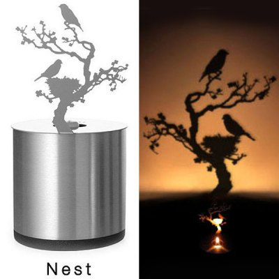 Novel LED Magnolia Shadow Projection Night Light Home Candle Decoration Sleeping Lamp