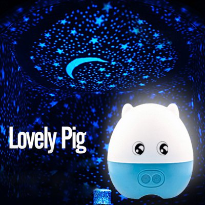 Cartoon Pig Rotating Music Cupid Projection Lamp changeable LED Sleeping Light