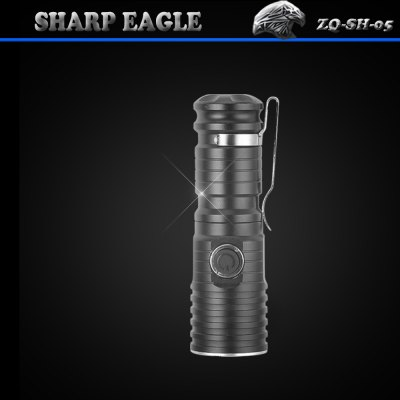 SHARP EAGLE ZQ - SH - 05 Cree XPE 600Lm 3 Modes 5500K LED FlashlightLED Flashlights<br>SHARP EAGLE ZQ - SH - 05 Cree XPE 600Lm 3 Modes 5500K LED Flashlight<br><br>Brand: SHARP EAGLE<br>Model: ZQ-SH-05<br>Lamp Beads: Cree XP-E<br>Beads Number: 1 x Cree XP-E<br>Lumens Range: 500-1000Lumens<br>Luminous Flux: 600Lm<br>Switch Type: Clicky<br>Switch Location: Side Switch<br>Feature: Lightweight,Pocket Clip,Side Switch,Overheating Protection<br>Function: Camping,Hiking,Hunting,Walking,Night Riding,Exploring,Household Use,Seeking Survival,EDC<br>Battery Type: 16340<br>Battery Quantity: 1 x 16340 battery (not included)<br>Mode: 3 (High &gt; Low &gt; Strobe)<br>Waterproof Standard: IPX-6 Standard Waterproof<br>Power Source: Battery<br>Reflector: Aluminum Smooth Reflector<br>Lens: Glass Lens<br>Beam Distance: 50-100m<br>Body Material: Aluminium Alloy<br>Available Light Color: Neutral White<br>Available color: Black,Grey<br>Max.: 2.5 hrs<br>Product weight: 0.045 kg<br>Package weight: 0.120 kg<br>Product size (L x W x H): 9 x 2.5 x 2 cm / 3.54 x 0.98 x 0.79 inches<br>Package size (L x W x H): 13 x 4 x 4 cm / 5.11 x 1.57 x 1.57 inches<br>Package Contents: 1 x SHARP EAGLE ZQ-SH-05 CREE XP-E LED Flashlight