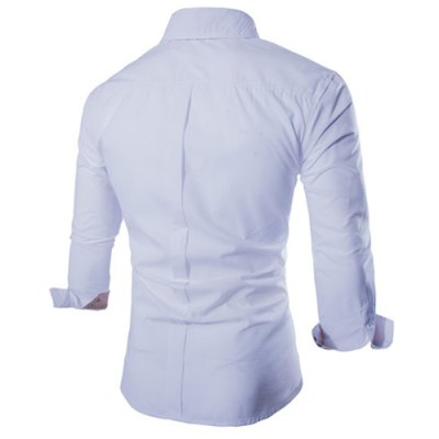 ФОТО Fashion Shirt Collar Fitted Two Color Splicing Long Sleeve Polyester Shirt For Men
