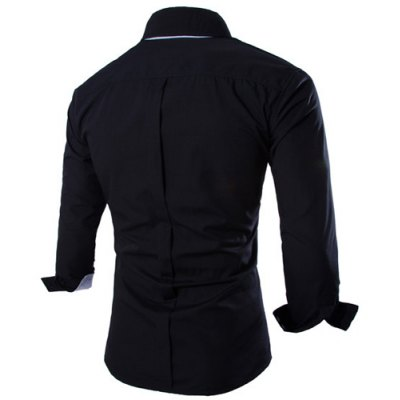 Fashion Shirt Collar Fitted Two Color Splicing Long Sleeve Polyester Shirt For Men