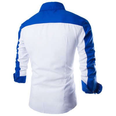 ФОТО Fashion Shirt Collar Fitted Three Color Splicing Long Sleeve Polyester Shirt For Men